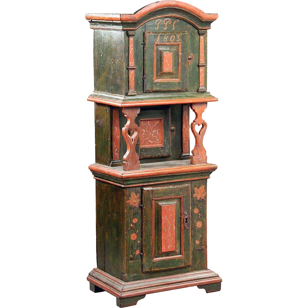 Danish Painted Oak Tall Tobacco Cabinet