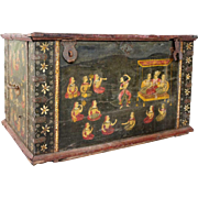 North Indian Painted Teak Iron Mounted Dowry Chest