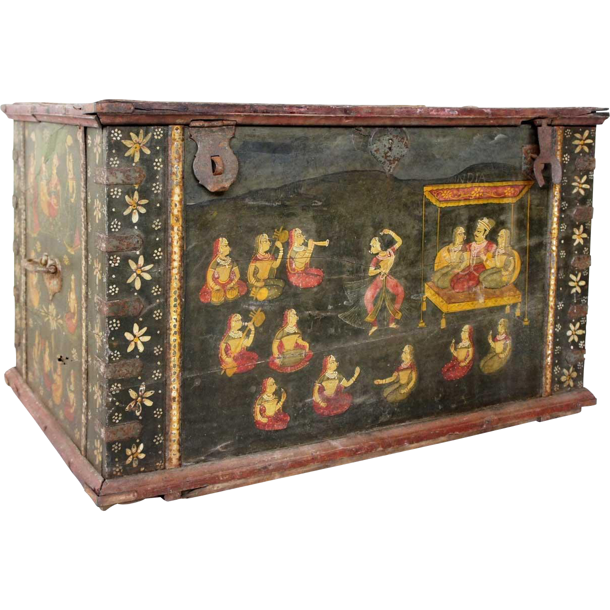 North Indian Painted Teak Iron Mounted Dowry Chest From