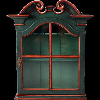 Swedish Painted Pine Glazed Door Hanging Cupboard