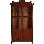 Swedish Gothic Revival Oak and Veneer Glass Door Bookcase