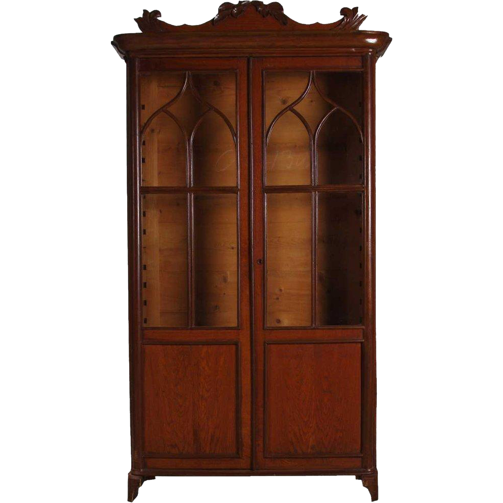 Swedish Gothic Revival Oak and Veneer Glass Door Bookcase