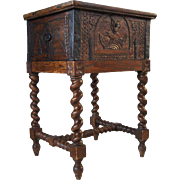 Danish Iron Mounted Pine Carved Box on Barley Twist Stand