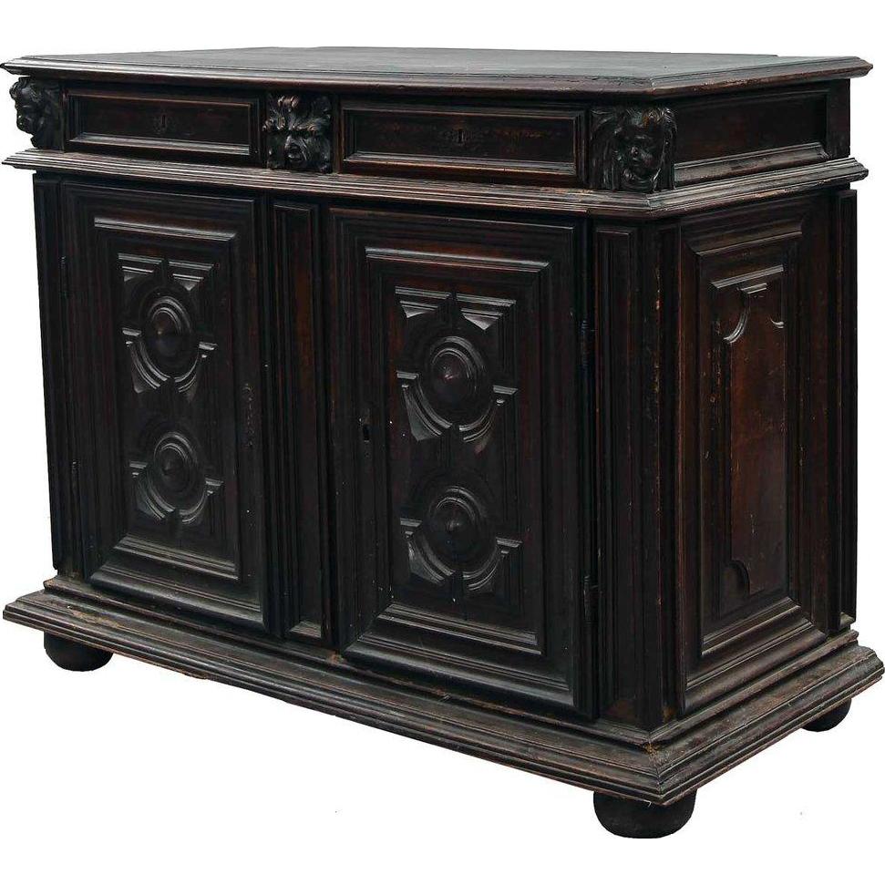 French Baroque Walnut Sideboard