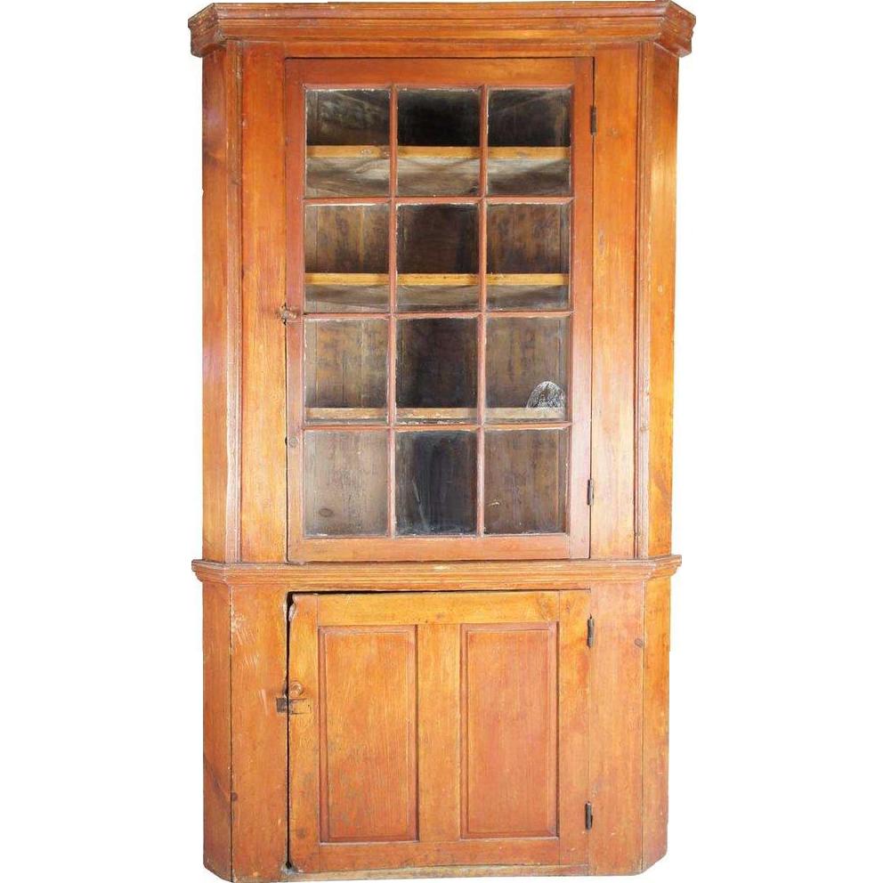 American New York Pine Glazed Door Corner Cupboard