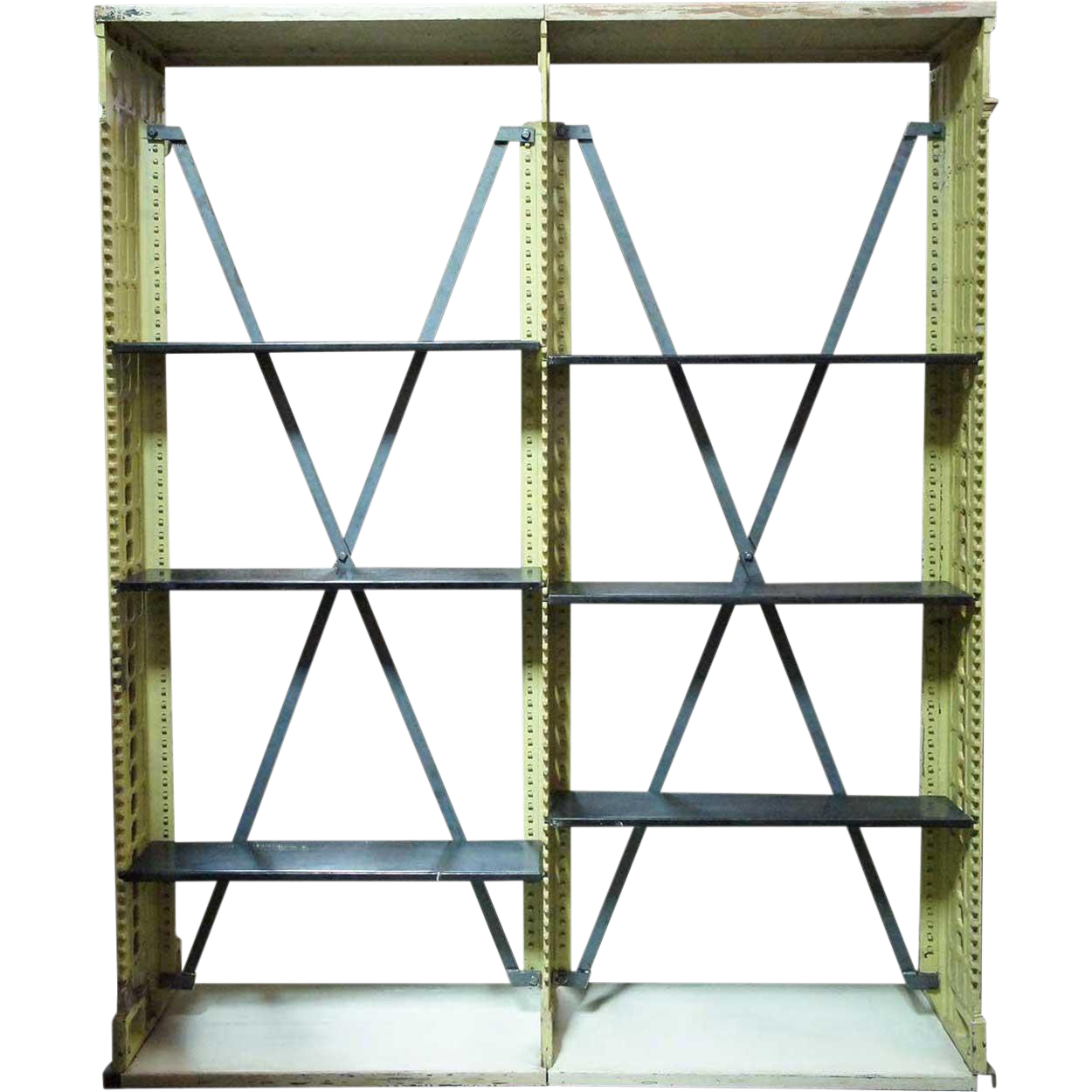 Rare American Snead and Co. Painted Cast Iron Library Open Shelf