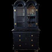 Dutch William & Mary Style Ebonized Pine Glazed Door Bookcase Dresser