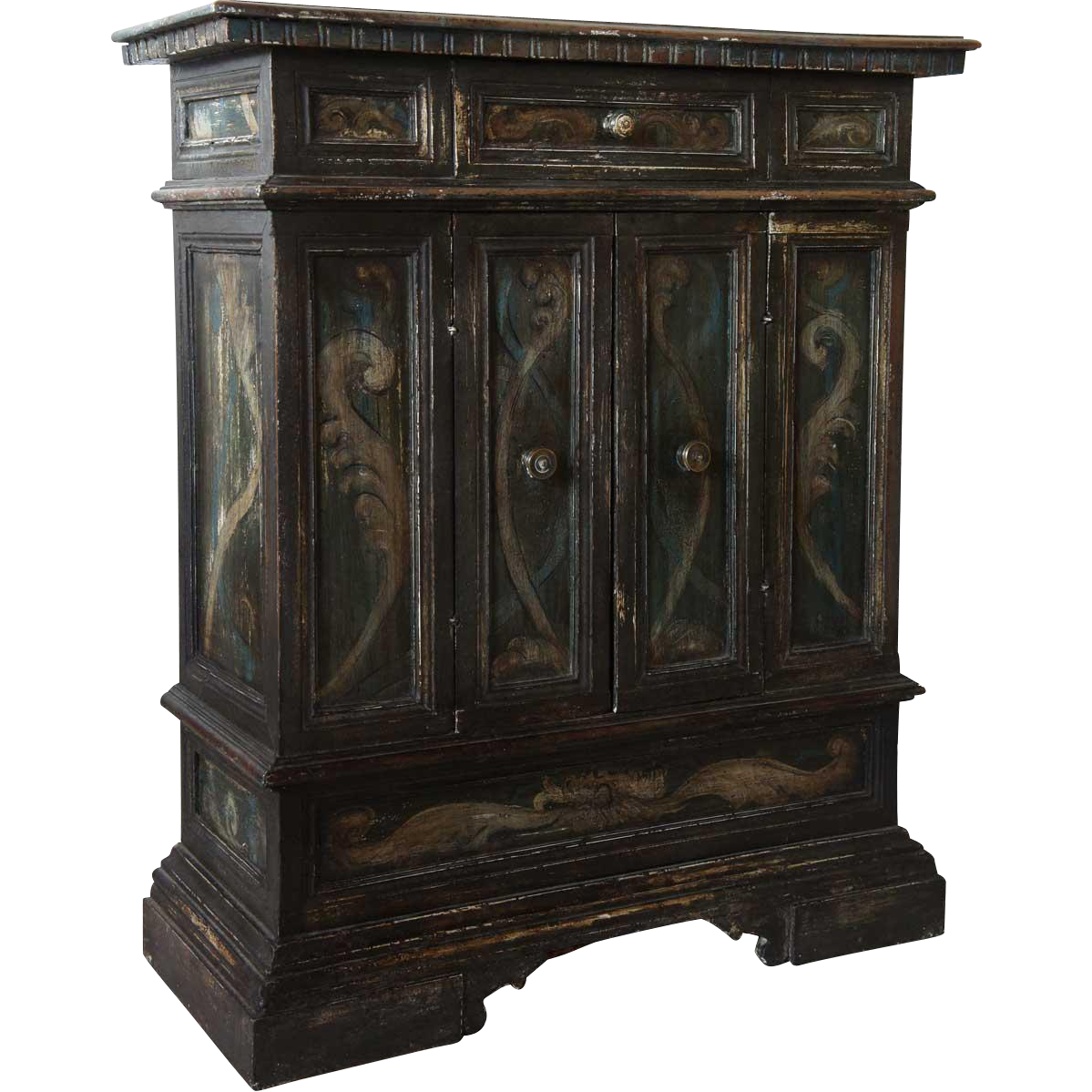 Small Italian Tuscan Painted Walnut Credenza