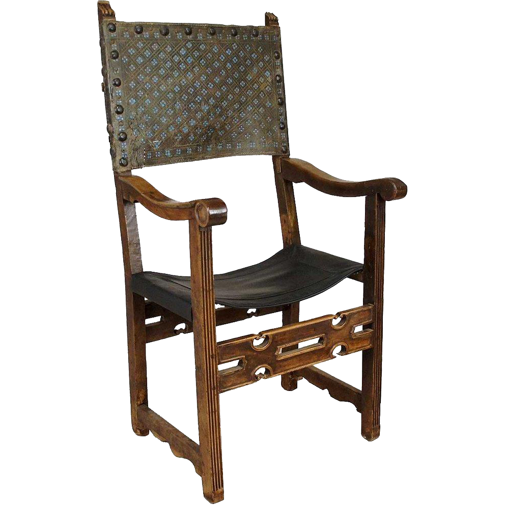 Italian or Spanish Baroque Tooled Leather Walnut Armchair
