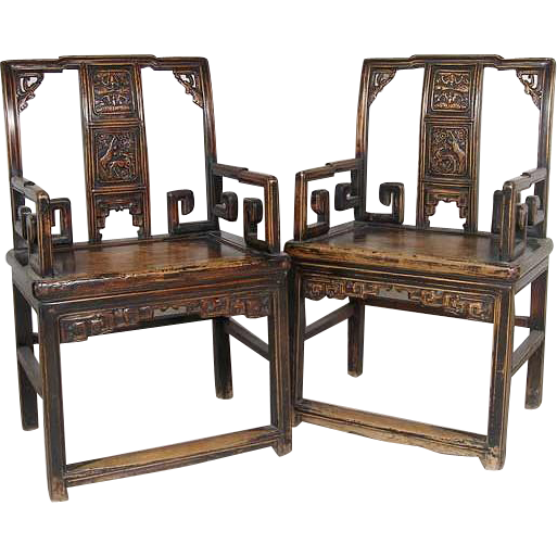 Pair of Chinese Lacquered Elmwood Armchairs