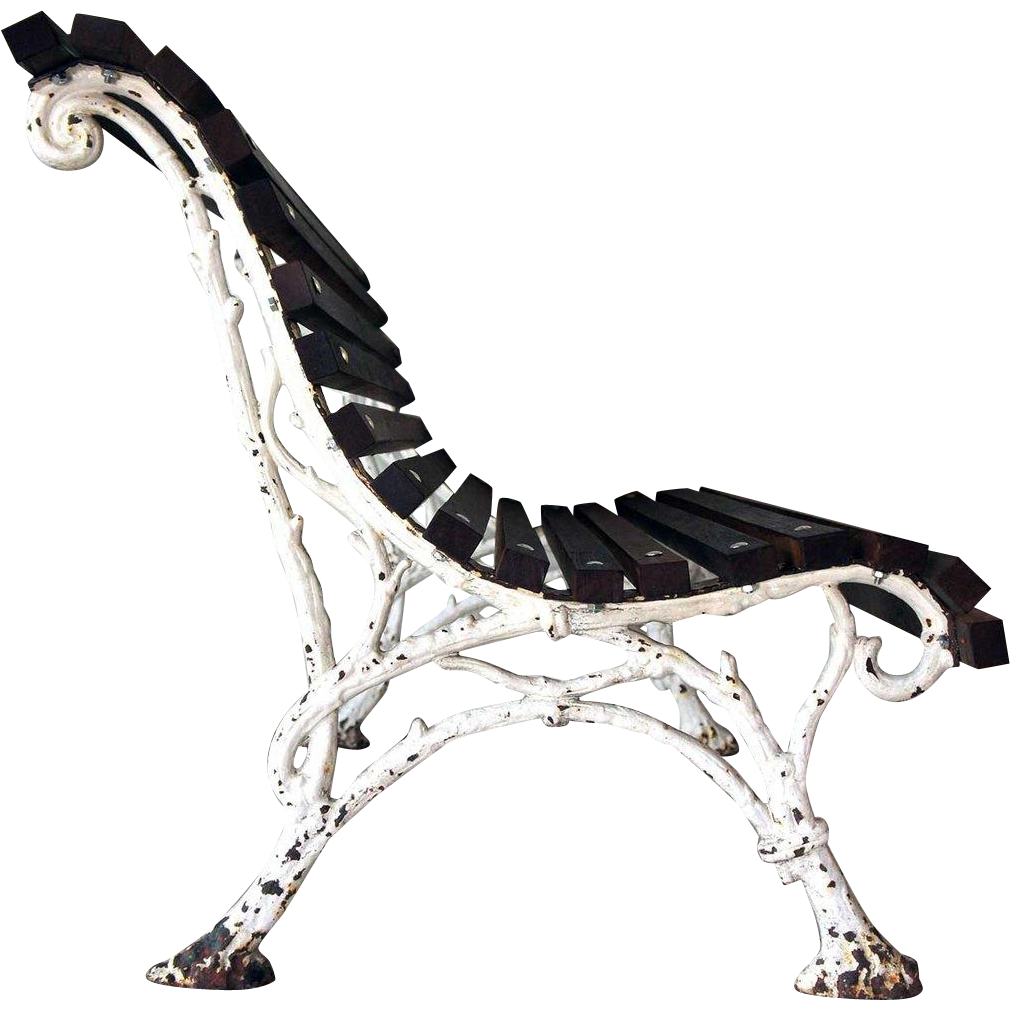 French Painted Cast Iron Faux-Bois Garden / Park Bench