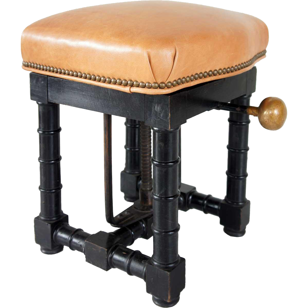 French Louis Philippe Walnut and Leather Mechanized Stool