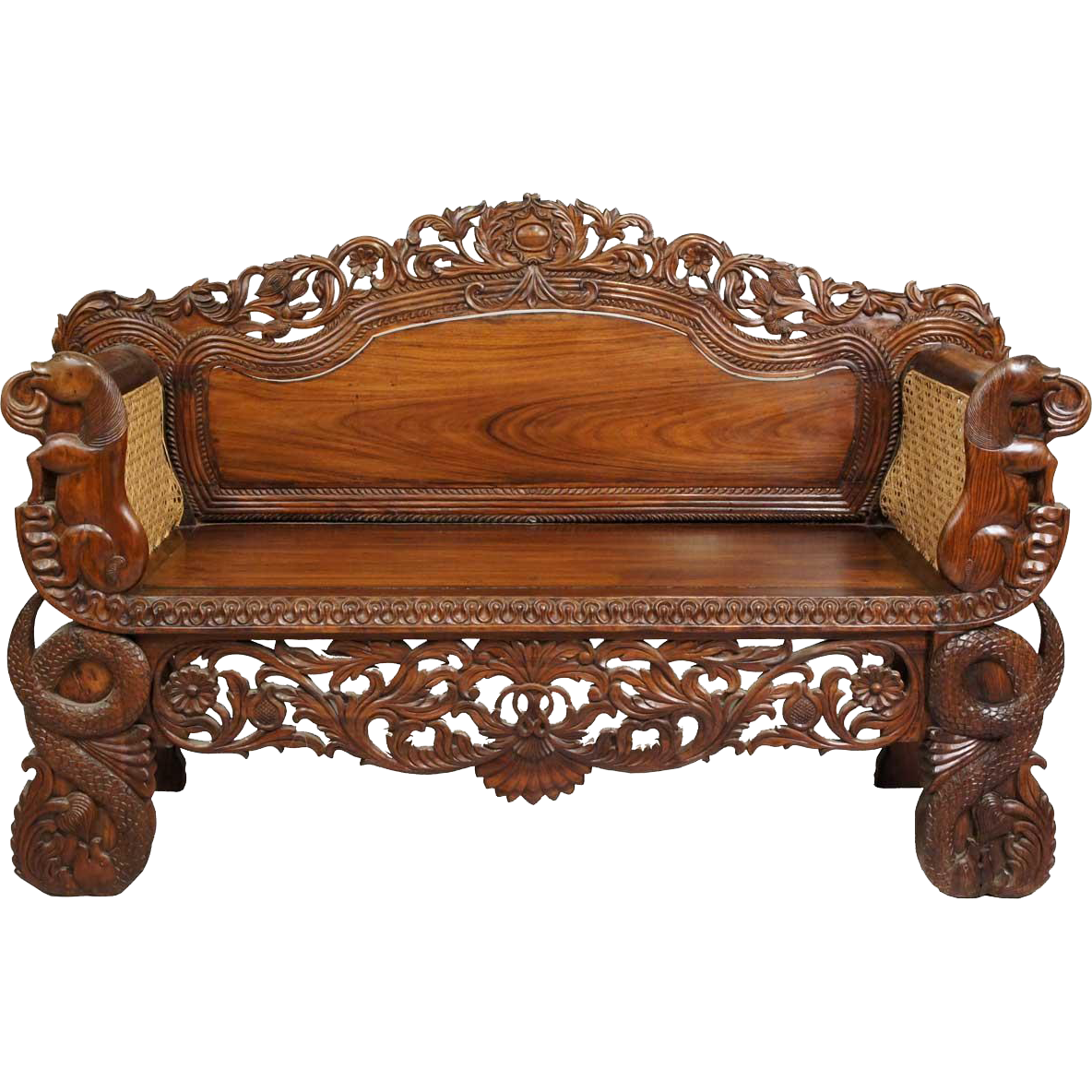 Small Anglo Indian Burmese Caned Rosewood Settee