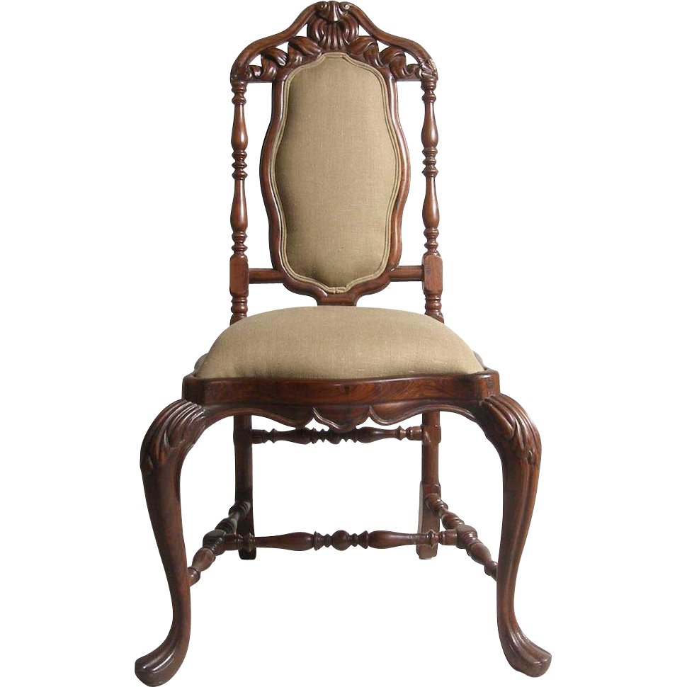 Indo-Portuguese Rosewood Upholstered Side Chair