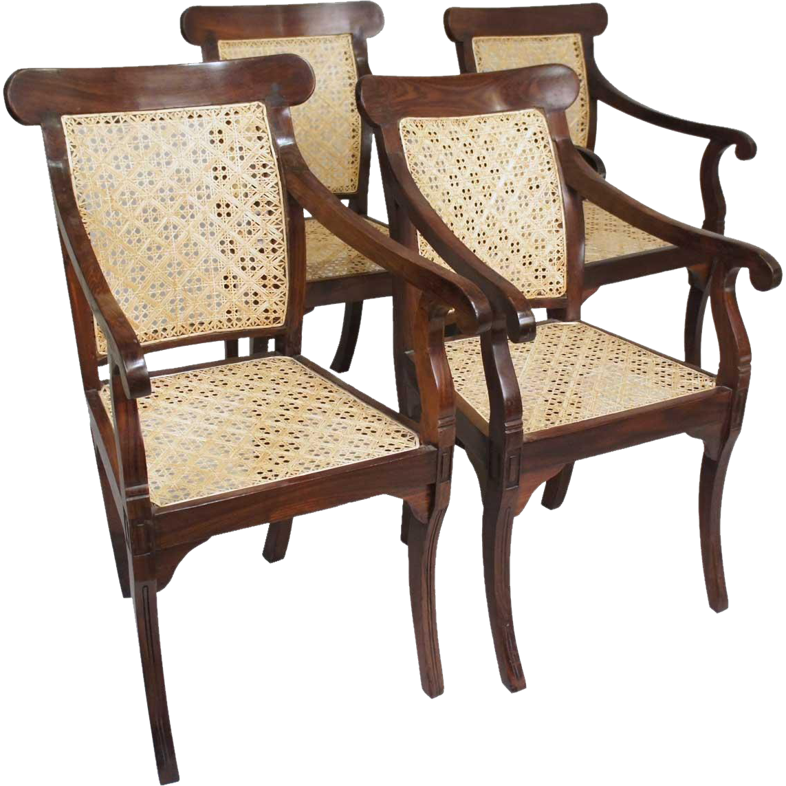 Set of Four Anglo Indian William IV Caned Rosewood Armchairs
