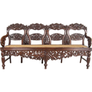Anglo Indian Caned Rosewood Four-Seat Settee