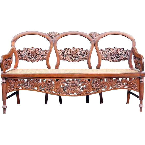Anglo Indian Victorian Caned Mahogany Three-Seat Settee