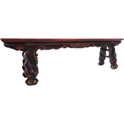 Chinese Yunnan Province Red Lacquered Fruitwood Bench