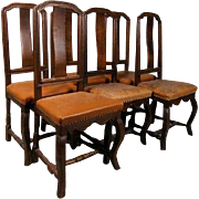 Assembled Set of Six Scandinavian Baroque Style Oak Side Chairs