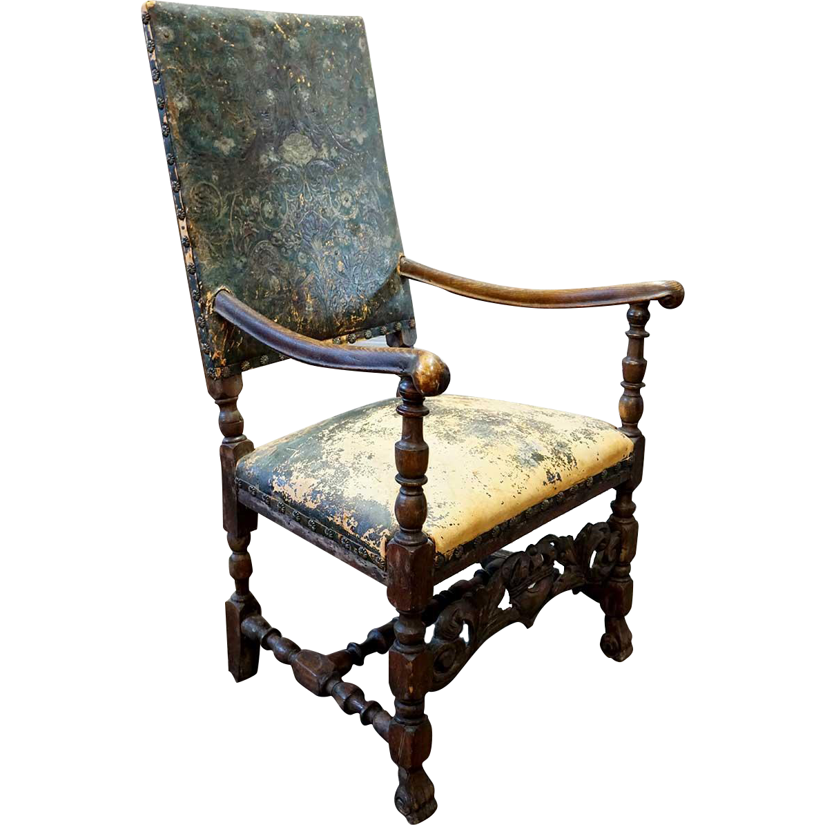 Swedish Baroque Period Oak and Leather Armchair