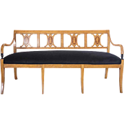 Danish Neoclassical Marquetry, Ebonized and Birch Settee