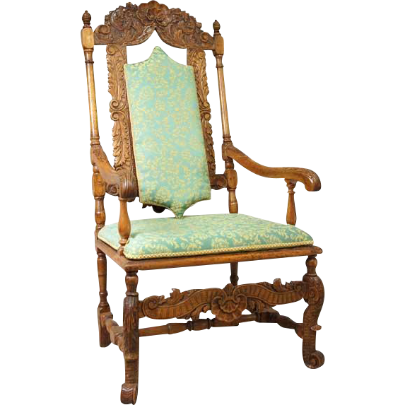 Scandinavian Baroque Walnut and Beech High-Back Armchair