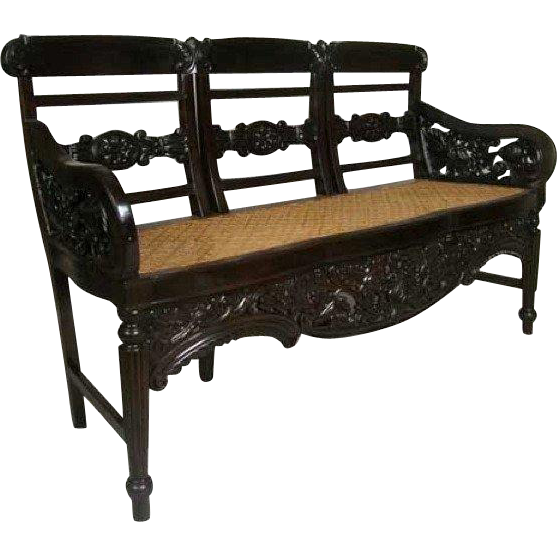 Indo-Portuguese Regency Caned Rosewood Settee