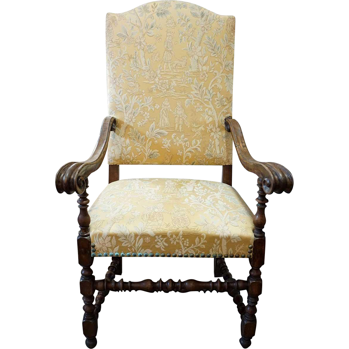 Italian/Spanish Baroque Walnut Upholstered Armchair
