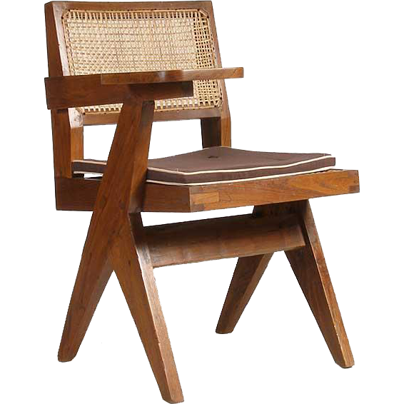 PIERRE JEANNERET Caned Teak Class Chair from Chandigarh, India