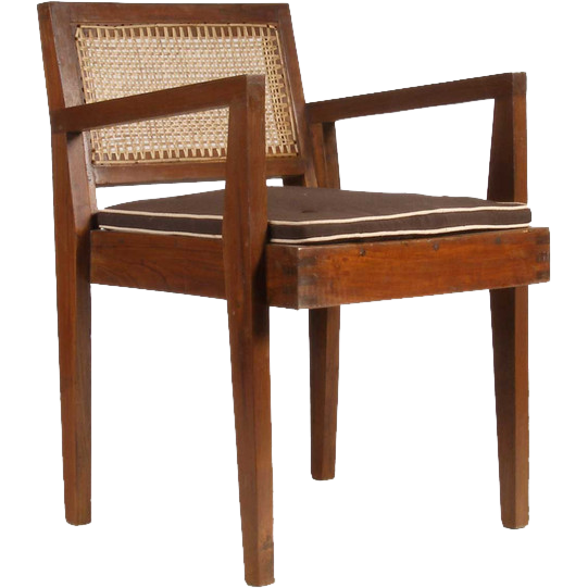 PIERRE JEANNERET Caned Teak Armchair from Chandigarh, India