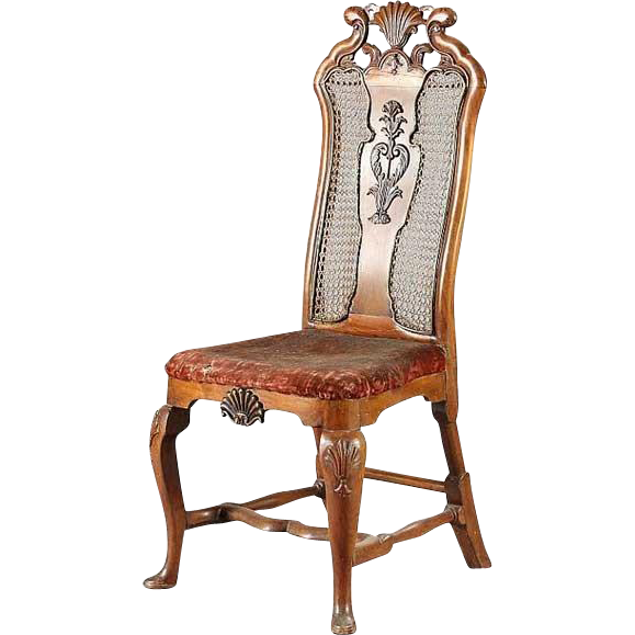 Swedish Regency Style Caned and Brass Mounted Walnut Side Chair