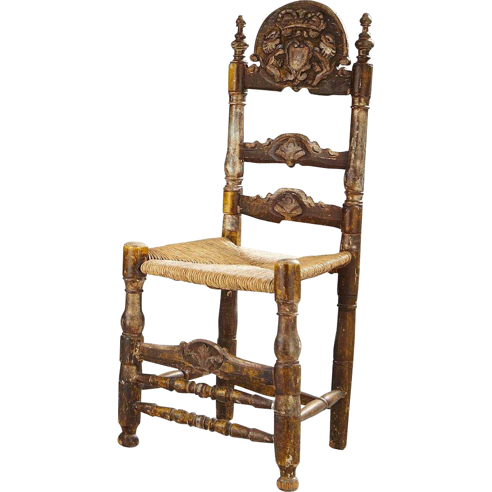 Spanish Painted Pine Ladderback Rush Seat Side Chair