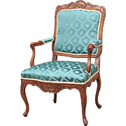 French/Swedish Louis XV Walnut Armchair (Fauteuil)