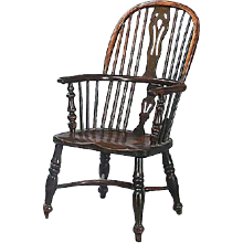 English Victorian Yew and Elm Tall Bow-back Windsor Armchair