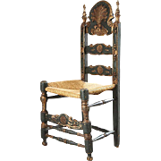 Spanish Painted Pine and Oak Ladderback Rush Seat Chair