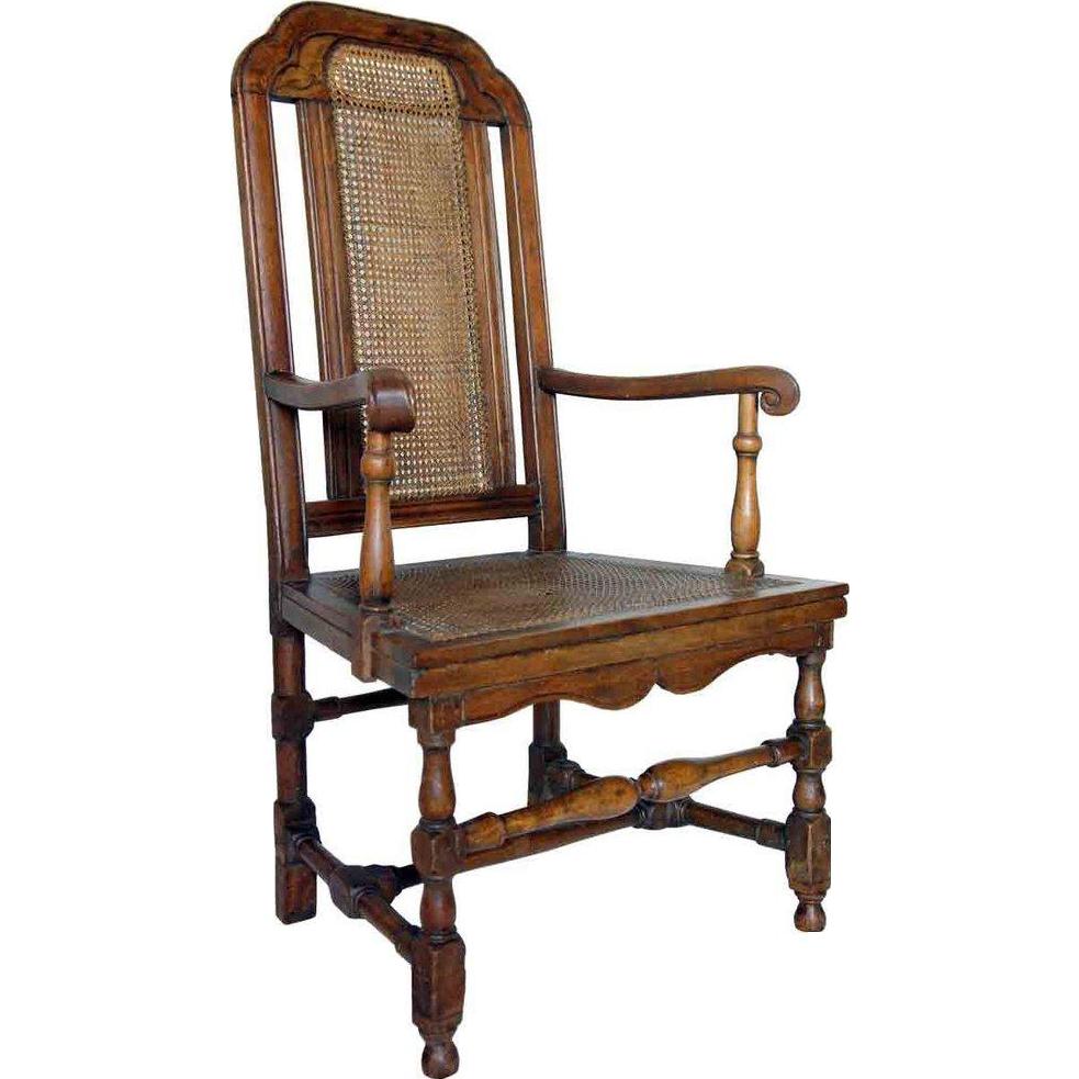 English Queen Anne Beechwood Caned Open Armchair