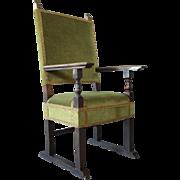 Spanish Baroque Upholstered Walnut Armchair
