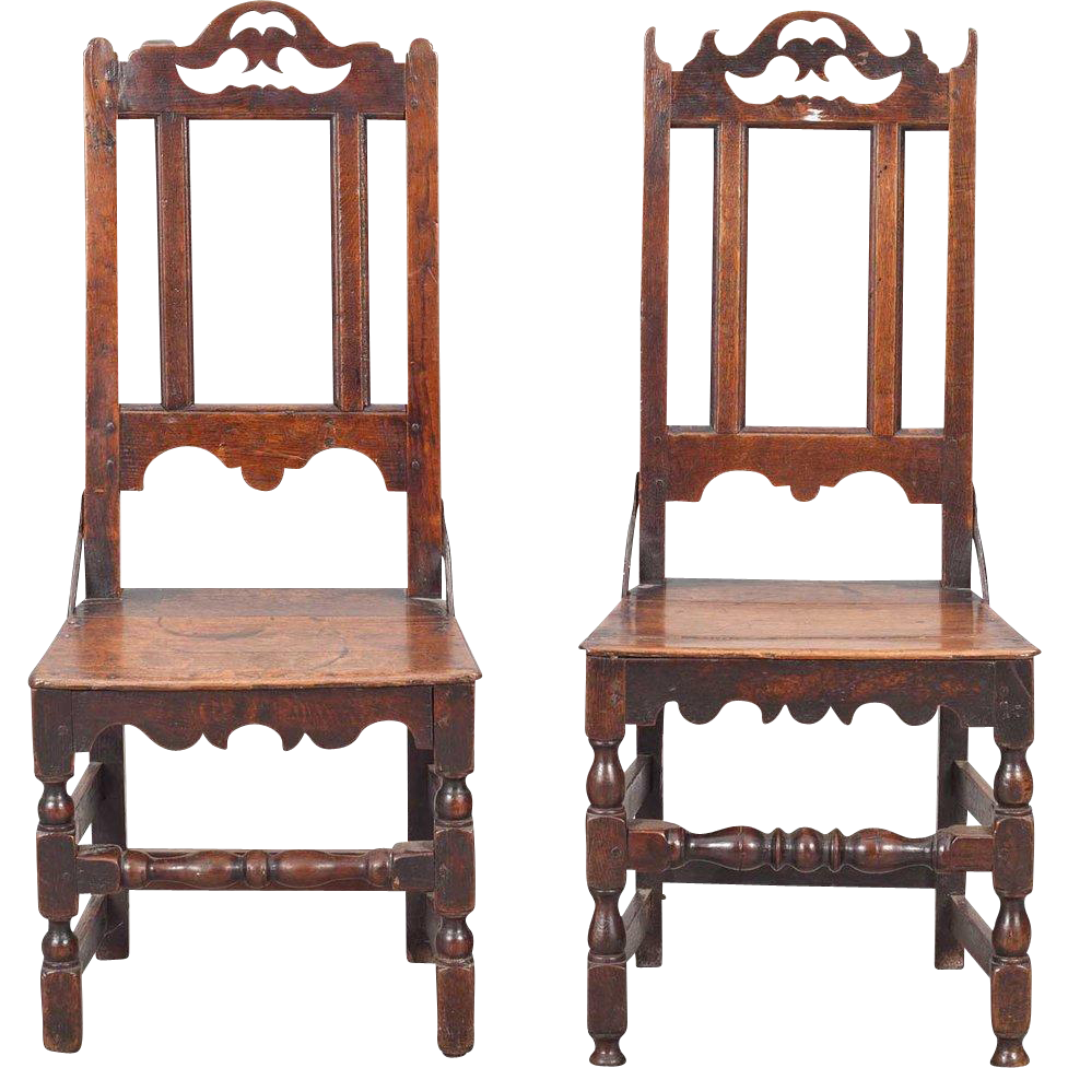 Pair of English Country Tall Back Dining Side Chairs