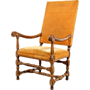 French Baroque Walnut Upholstered Armchair