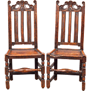 Pair of English Georgian Oak Tall Back Side Chairs