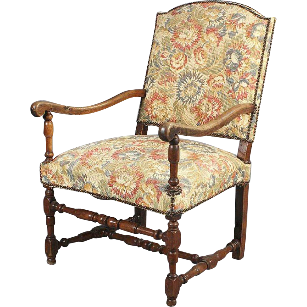 French Baroque Walnut Upholstered Open Armchair