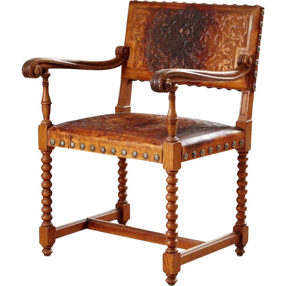 French Baroque Style Oak Armchair
