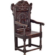 English Renaissance Period Carved Oak Armchair