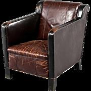Vintage Danish Brown Leather Club Armchair