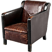 Vintage Danish Brown Leather Club Armchair