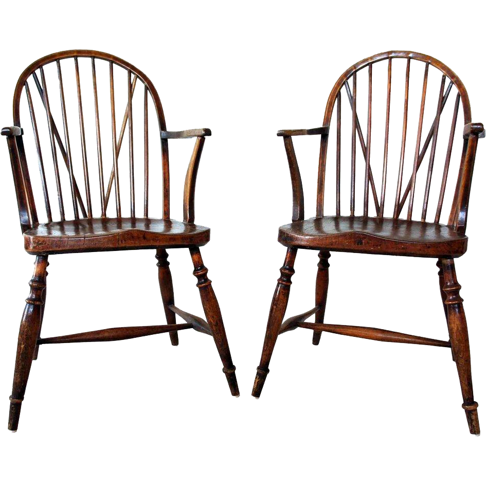 Pair of English Georgian Braceback Yew and Elm Wood Windsor Armchairs