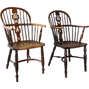 Two English Elm and Yewwood Windsor Lowback Armchairs