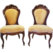 Pair of American J.H. Belter Laminated Rosewood Rosalie Salon Chairs