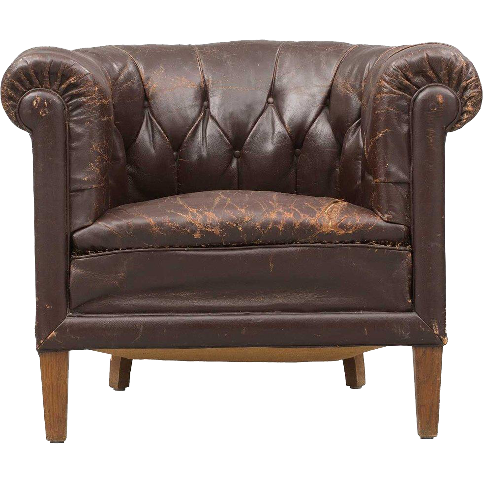 Swedish Tufted Brown Leather Club Chair