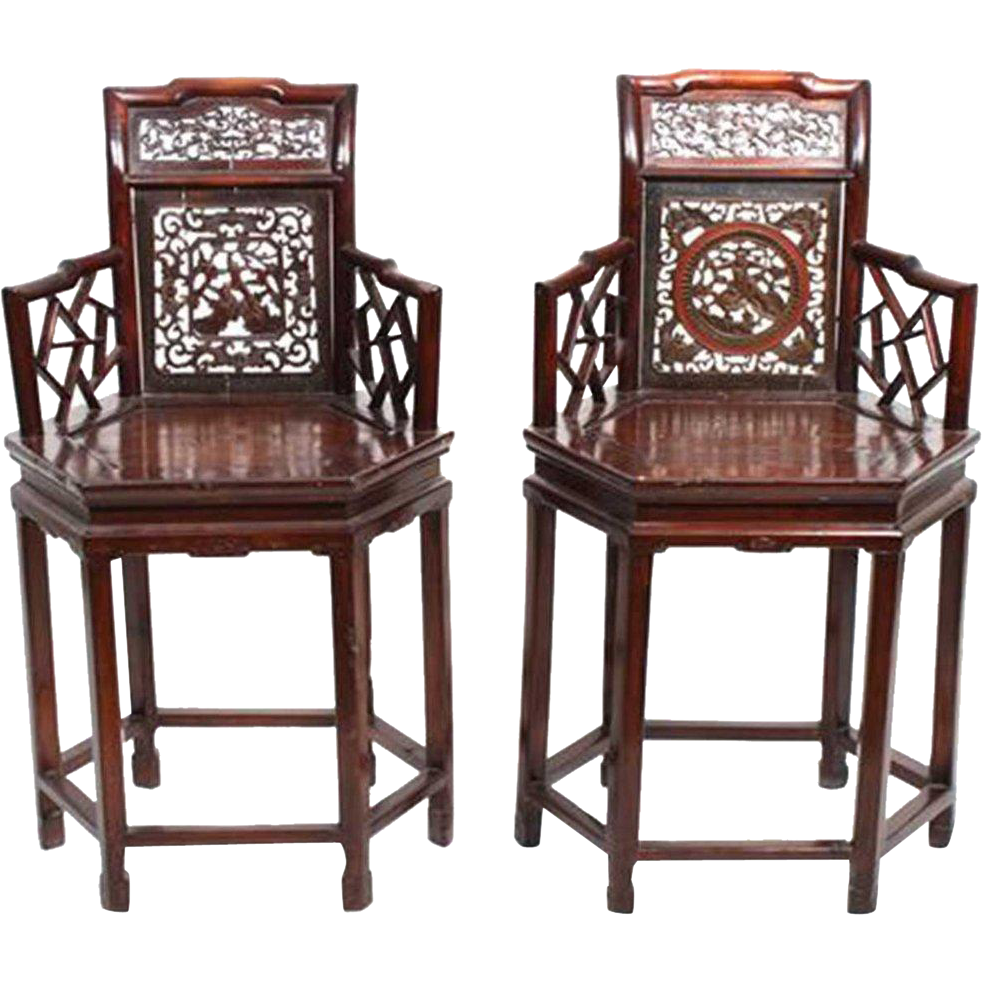 Pair of Chinese Red Lacquered Rosewood Hexagonal Armchairs